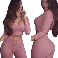 2017 Tracksuit Two Piece Set Women Crop Top and Pants Sportwear Tracksuit Set Ladies Knit Hooded Sexy Cropped with Pants Set