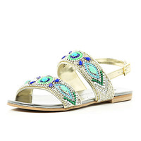 River Island Girls gold embellished sandals