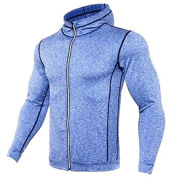 Men's T Shirts Fashion Sweatshirts Men Fitness T-Shirt Compression Shirt Zipper Reflective Breathable Jersey