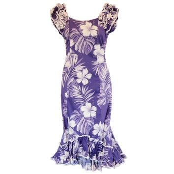 Waikiki Purple Hawaiian Meaaloha Muumuu Dress with Sleeves