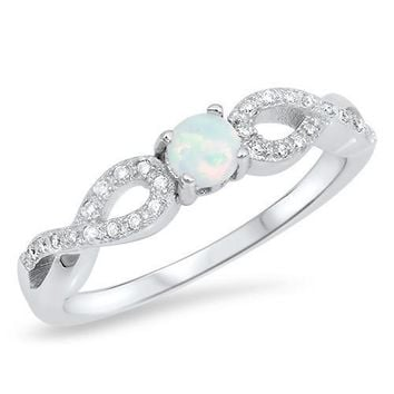 Sterling Silver 4mm Round Opal Infinity Style Ring