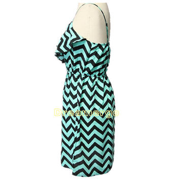 Spring Summer green black chevron sundress soft sweet girl zig zag dress women Straps Dress Strappy Dress Sleeveless tropical vacation
