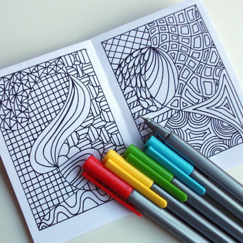 Mini Zine PRINTABLE Zentangle Inspired Coloring Book Intricate Zendoodle Patterns