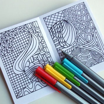 Mini Zine, PRINTABLE Zentangle Inspired Coloring Book, Intricate Zendoodle Coloring Patterns