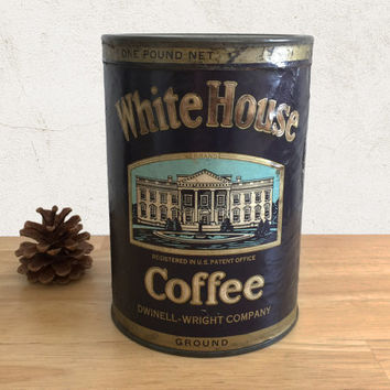 Vintage Coffee Tin White House Coffee with Paper Label / Farmhouse Rustic Kitchen Decor / General Store Food Can / Advertising Collectible