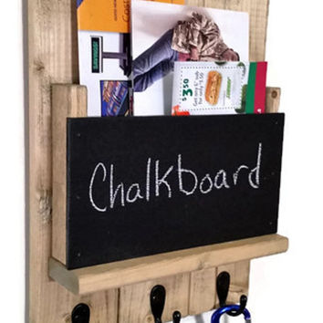 Sydney Mail Organizer and Key Rack with Chalkboard - Stained Version