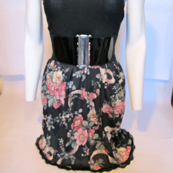 SALE SMALL black floral tube dress