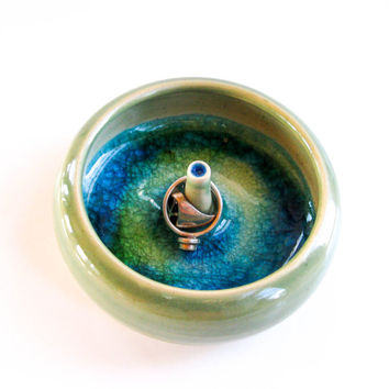Light Green Ceramic Ring Holder - Ring Dish with Melted Glass