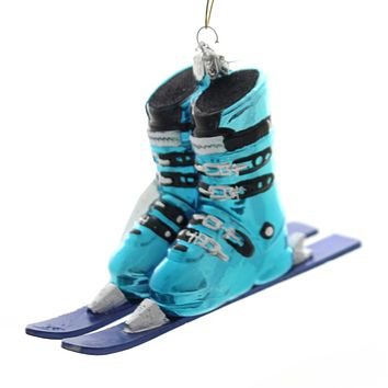 Noble Gems SKI BOOTS WITH SKIS Glass Winter Sport Nb1016 Blue