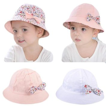 Summer Baby Girls Sun Hat Cotton Baby Hat Kids Child Cap Bowknot Flower Print Bucket Hat Double Sided Dual Use Bow Fisherman Hat
