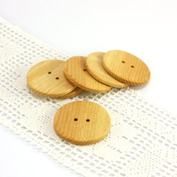 Large ash wood buttons - Set of 6 round buttons - 1.2in (30mm) - Natural wooden buttons - Handmade buttons (S6113)