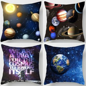 Galaxy Planets Cushion Covers Space Solar System Earth Moon Pluto Black Hole Cushion Cover Home Decorative Linen Pillow Case
