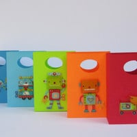 10 Robot Favor Bags-Gears Embossed-Robot Party Favor Bag-Robot