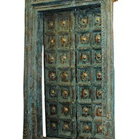 Mogul Interior 18c Indian Architecture Blue Antique Doors Frame Teak Brass Vintage Haveli Entrance