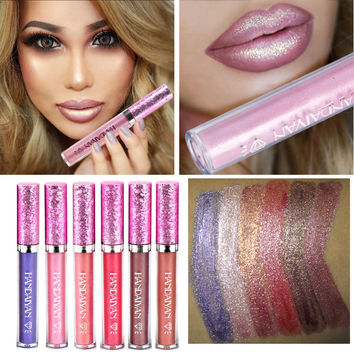 2017 Diamond Shine Metallic Lipstick Gold Charming Long Lasting Tattoo Liquid Lipstick Flash Powder Lip Gloss Glitter Makeup