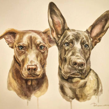 Christmas gift - custom pet portrait from photo - Commission 2 dogs Portrait - animal, pet - artwork from artist