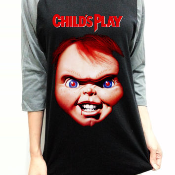 Chucky Face Horro Unisex Men Women Black Long Sleeve Baseball Shirt Tshirt Jersey