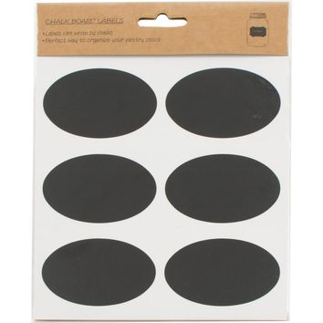 Chalkboard Oval Sticker Labels - pack of 18