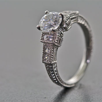 14kt White Gold and Diamond Art Deco Design Hand Engraved Engagement Ring with 1ct White Sapphire Center