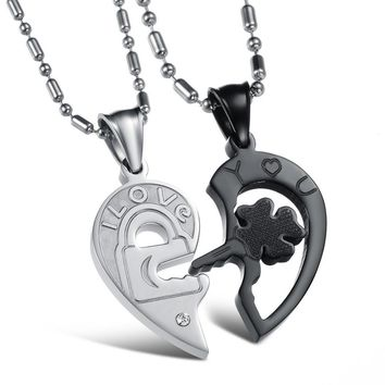 Couples I Love You Necklace Silver and Black