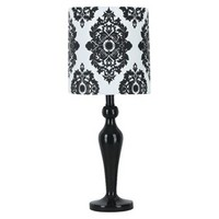 Xhilaration® Lamp with Damask Shade - Black (Includes CFL Bulb)