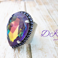 Mauveine, Swarovski 30x20 Ring, Pear, Ultra Purple AB, Tanzanite Halo, Adjustable, Statement, DKSJewelrydesigns, FREE SHIPPING