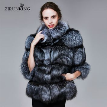 ZIRUNKING Winter Real Silver Fox Fur Coats Women Warm Natural Color Fox Fur Jacket Female Thick Fox Fur Overcoat Clothing ZC1719