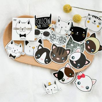 2 Boxes Set Cute Cat Head Mini Paper Sticker Decoration DIY Album Diary Scrapbooking Sealing Sticker