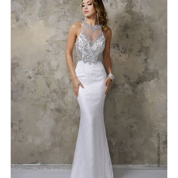 Nina Canacci 7231 White Lace Sexy Fitted Long Dress 2016 Prom Dresses
