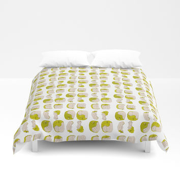Eating process (Apple) // watercolor apple consumption Duvet Cover by Camila Quintana S