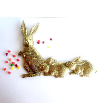 Large Vintage Brass Rabbits Wall Hanging