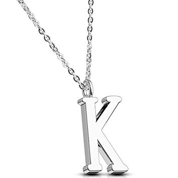 BodyJ4You Necklace Letter K Initial Alphabet Charm K Stainless Steel Chain