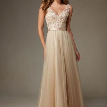 Morilee Bridesmaids 134 Floor Length Tulle & Beaded Embroidery Dress