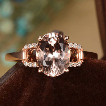 Rose Gold Morganite Engagement Ring Diamond Split Shank Bridal Set Oval Cut Unique Antique Thin Anniversary Gift For Her Women