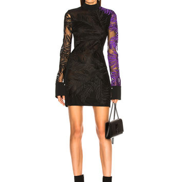 David Koma Macrame Dress in Black & Purple | FWRD