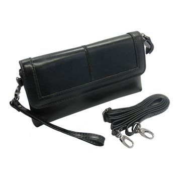 Belfen® Smartphone Wallet Organizer Wristlet,Belfen® [Handmade genuine Leather] [Black]clutch wallet with crossbody strap/Credit Card Slots-for Smartphone up to 5.5 Inch-Black