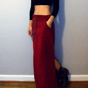 Vintage Red Suede Maxi Skirt - fall autmn skirt - Small - Western Native Style Maxi