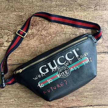 GUCCI Women Shopping Leather Crossbody Satchel Shoulder Bag Black G-MYJSY-BB