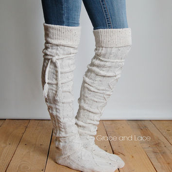 Alpine Thigh High Slouch Sock - TWEED thick cable knit socks w/ fold over cuff and tassel tie - boot sock leg warmer (item no. 6-)