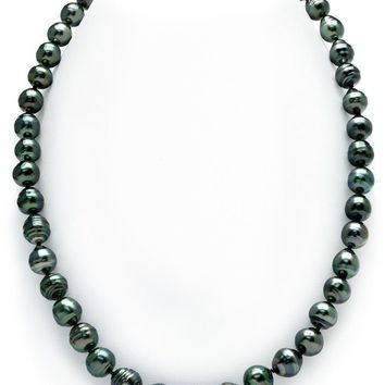 14K Gold Clasp Dark Tahitian South Sea Baroque Cultured Pearl Necklace - AAA ...