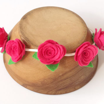 Floral crown bridal headpiece - pink felt rose wreath headband - boho headwear head band - whimsical - summer flower festival head piece