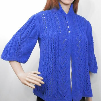 Hand knitted summer cotton jacket with bell sleeves and free silhouette