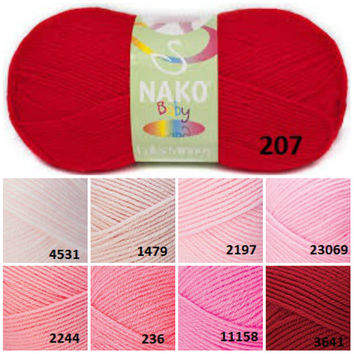 NAKO baby yarn, Red pink Pattern baby yarn, Knitting yarn, Crochet yarn, Knitting supplies, Sweater yarn, Knitting baby yarn, NAKO Minnoş