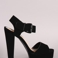 Bamboo Nubuck Buckled Ankle Strap Chunky Platform Heel