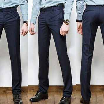 Men's Straight Slim Fit Dress Pants