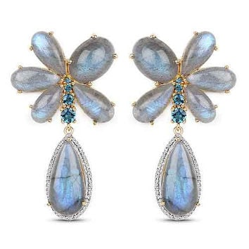 14K Yellow Gold Plated 47.85 Carat Genuine Labradorite, London Blue Topaz & White Topaz .925 Sterling Silver Earrings