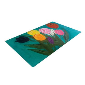 "Christen Treat ""Tulips"" Rainbow Flower Woven Area Rug"