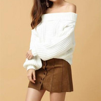 Boatneck Lantern Sleeves Cut Out Sweater