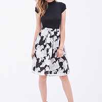 LOVE 21 Floral A-Line Skirt Black/Grey