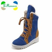 S.Romance Plus Size 34-43 Women Boots Fashion Round Toe Snow Boots Lace-Up Female Winter Boot Woman Shoes Black Red Blue SB760